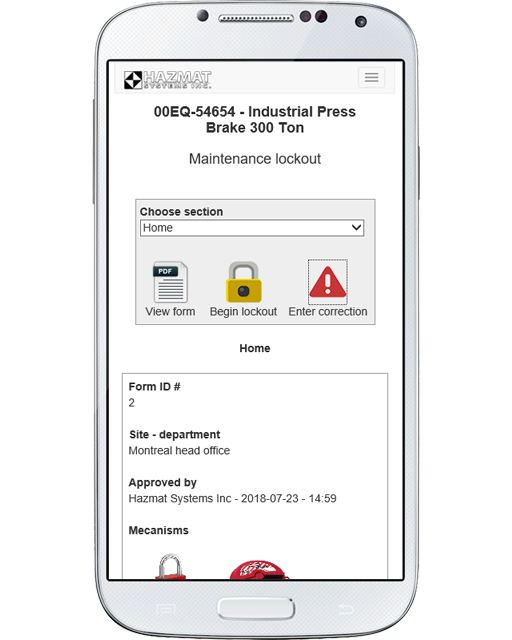 Our extremely user-friendly mobile interface will adapt to any mobile device, and allow you to view lockout/tagout information right from the work floor