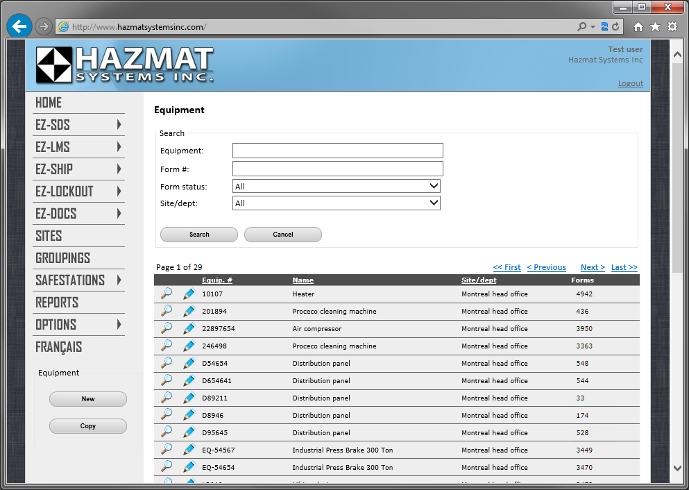 Easily manage all your forms and equipment using our user-friendly online interface
