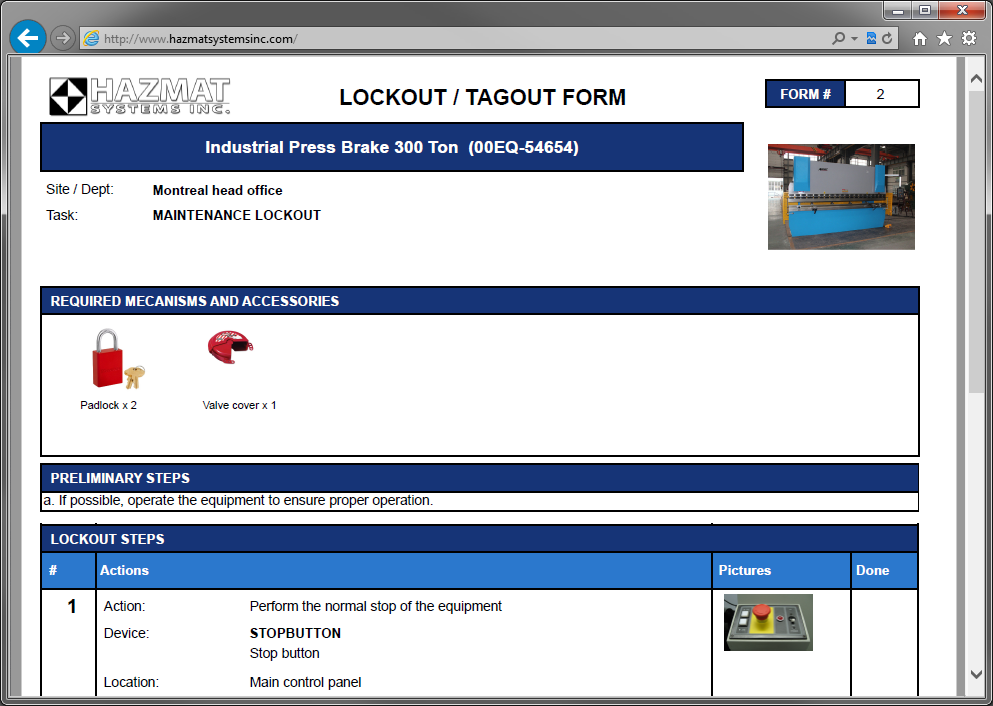 Easily generate your lockout/tagout forms in PDF
