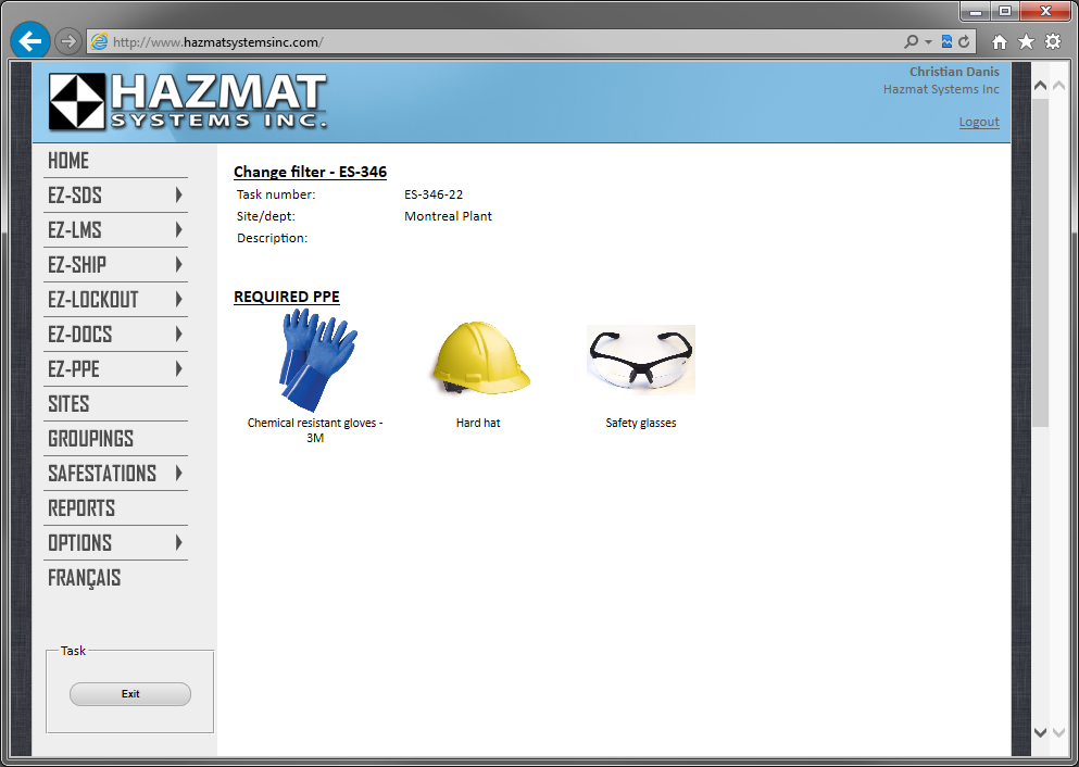 Workers can easily see which safety equipment is required for doing a specific task